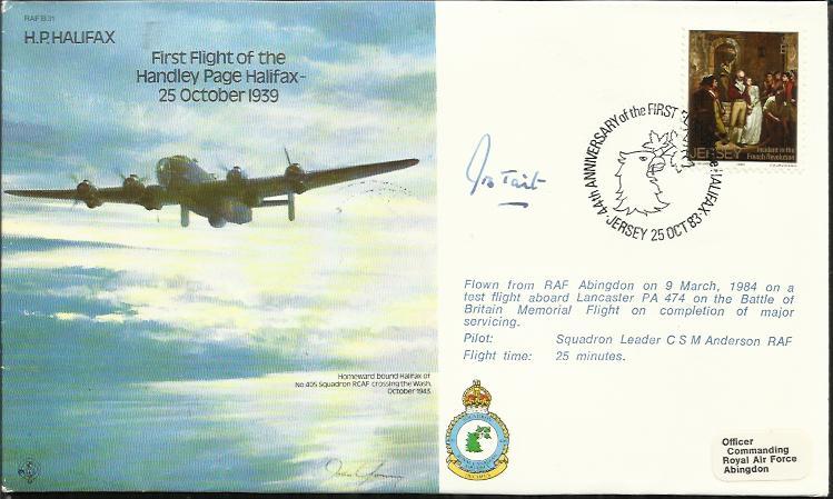 Grp Capt J Tait DSO DFC B31 H P  Halifax cover signed by Gp Capt