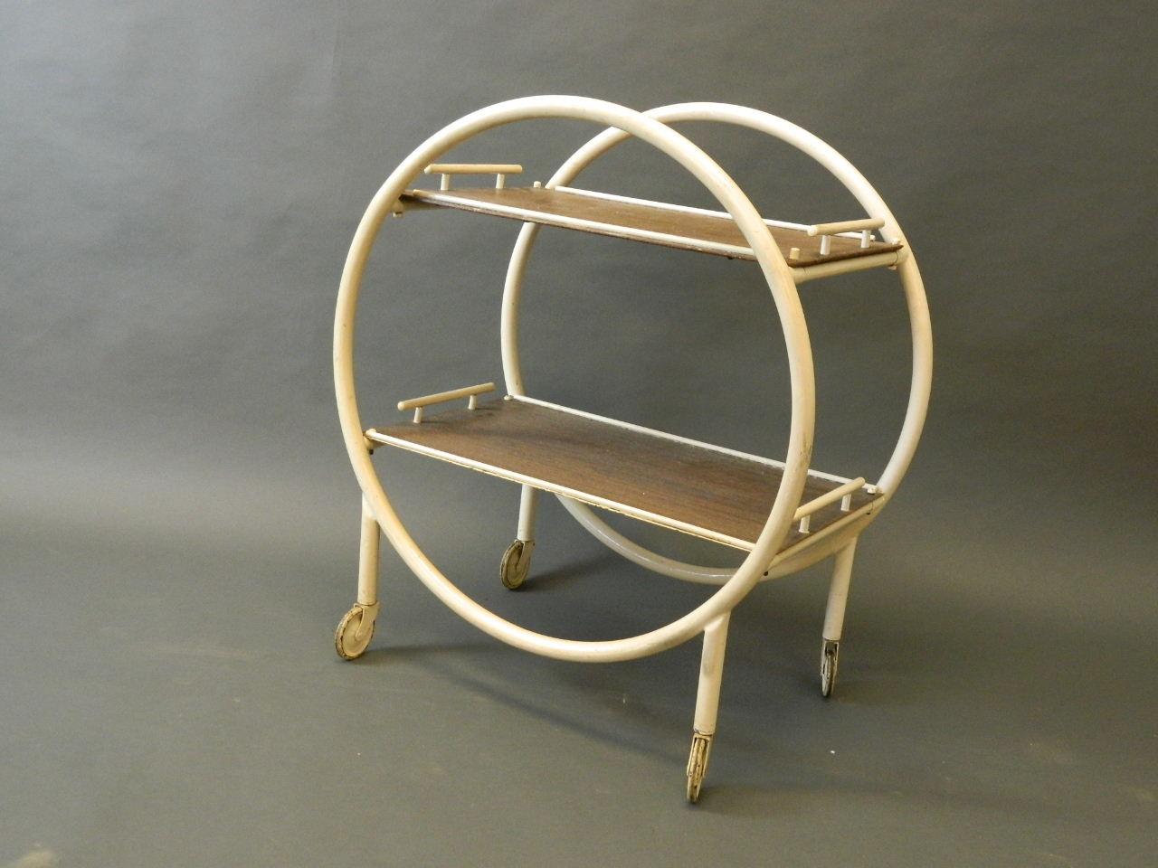 An Art Deco painted steel tea trolley, 3