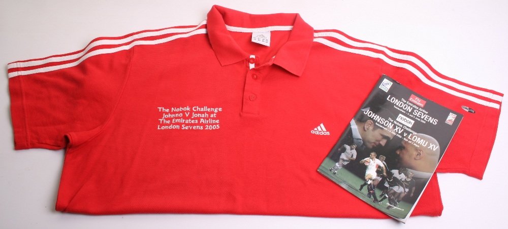 Rugby Shirt of New Zealand All Blacks Legend Jonah Lomu, the red Adidas jersey was produced for