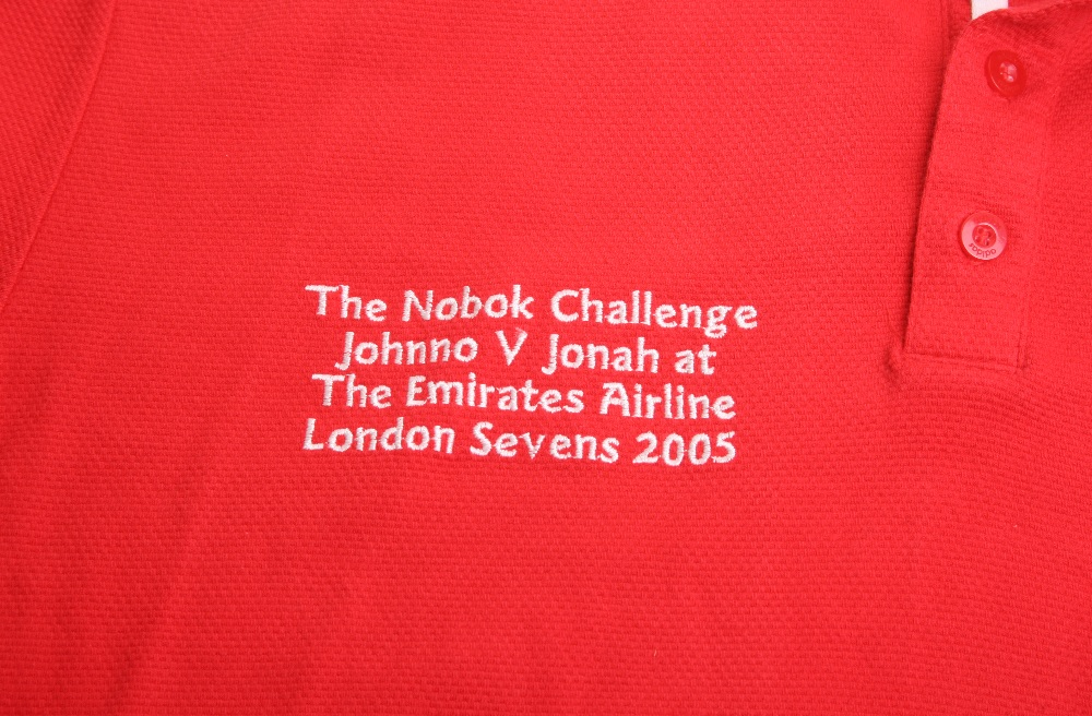 Rugby Shirt of New Zealand All Blacks Legend Jonah Lomu, the red Adidas jersey was produced for - Image 2 of 2