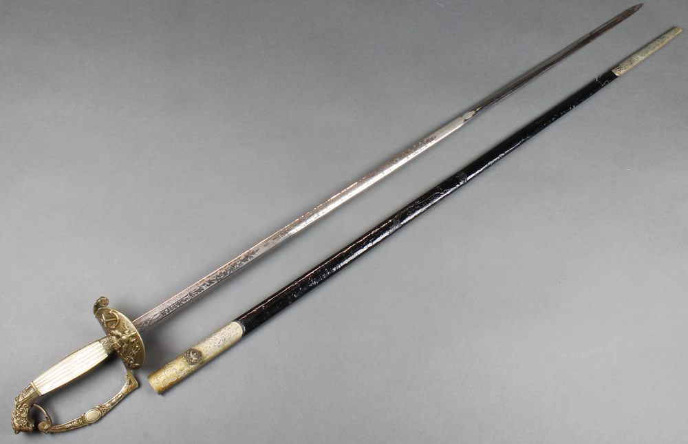 """Harrison & Sons, Sackville Street London, a """"Polish"""" naval court sword with 31 1/2"""" etched blade ("""