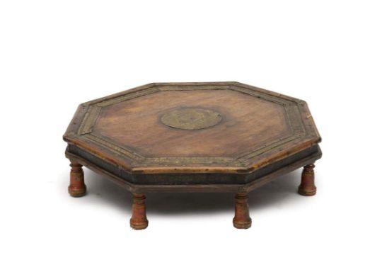 Table Basse Octogonale Indienne Sur 8 Pieds En Bois Tourn233