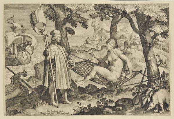 *America. Galle (Theodor), [Americus retexit, Semel vocauit inde semper excitam], circa 1630,