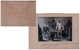 Original Watercolour Drawing In Sepia Hues of an Interior with Figures, Numbered Page 282,