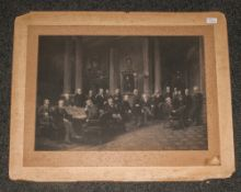 Large Photographic Print Dated Edinburgh 1895, 20 Members In Chamber. Photographers Signature To The