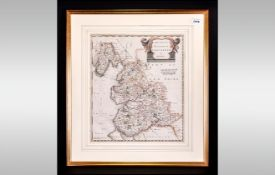 Robert Mordem County Map Of The Palatine Of Lancashire, period hand coloured print, framed,