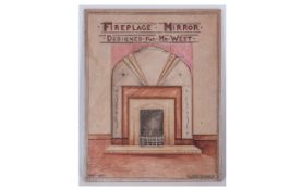 Watercolour Drawing of a Deco Type Minor and Mantle. Titled ' Fireplace Mirror Designed For Mr. West