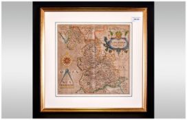 Christopher Saxon Map 'Lancashire Brigantum' Hand Coloured & Period From His Famous Book 'The County