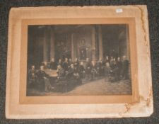 Large Photograph Print 19th Century Stamped Edinburgh, Gentlemen In Chambers, Makers Stamp and