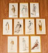 Set of 20 Coloured Fashion Prints In Gilt and Glazed Frames, From Ackermans Repository Dated 1809,