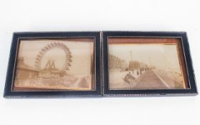 Two Antique Photographic Prints on Glass of Old Blackpool. c.1900's. Showing The Old Ferries Wheel