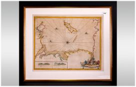 Rare Coastal Chart Map Of Lancashire, Showing The Isle Of Mann And Angelsey, with Vingenettes