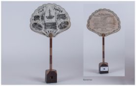 Unusual Paper Fan - 13 Inches High. Mounted on a Wood Stand of The Tower, Blackpool. General Manager