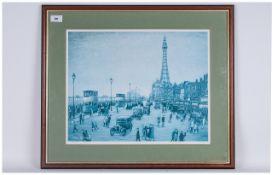 Arthur Delaney Print Of Old Blackpool In the 1930's Number 326/850. Framed & glazed. 24x22''