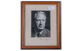 Signed Photo - Edward Heath. Size 4.5 x 6 Inches.