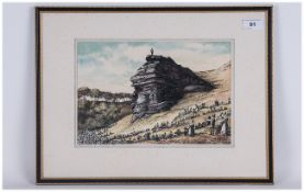 John Selby Watercolour Drawing Of Pulpit Rock Dated 1972 Pilgrims preaching a sermon with