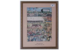 Black and Decker Coloured Print At The Fairground. Silver Jubilee 1965-1990. Framed and Glazed. Size