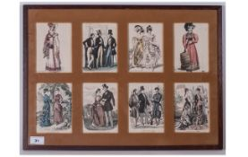 8 Antique Coloured Fashion Prints In Glazed Frame, Mounted. French Fashions Dated 1824 to 1878. Size