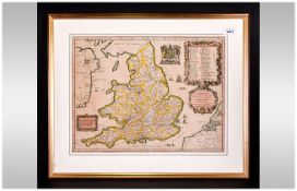 John Ogilby Rare Hand Coloured Period Map Showing The Kingdon Of England & Wales With Royal