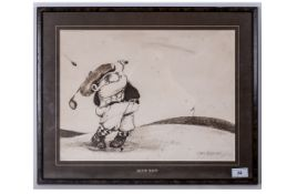Golf Print by Gary Patterson - The Hook Shot. Copyright 1975. Frame and Glazed. Size 22 x 17 Inches.