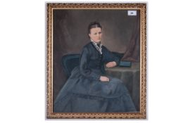 Victorian Watercolour Drawing Of An Elegant Lady, seated at a table with a book. Circa 1860's. Frame