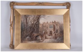 A.M.Arthur Signed Watercolour Drawing Of Figures At A Gothic Mansions Gate, playing instruments in a