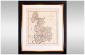 Large Map Titled 'A New Map Of The County Of Palatine of Lancaster, divided into hundreds. Hand