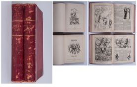 Two Bound Volumes of Punch. 1891 & 1892, With Thousands of Illustrations, Red Leather Gilt Spine.