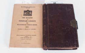 F Hopkins Old Vets Leather Bound Accounts Book For 1887 to 1905 with many entries of interest,