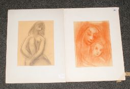 2 Original Pastel Drawings by Hungarian Artist Jean. Georges Simon ( 1894 to 1968 ) 1. Signed and