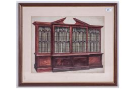 Fine Quality Watercolour Drawing Of A Chippendale Breakfront Bookcase, executed in fine detailing.