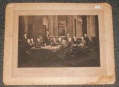 Large Photographic Print, Dated 1907, 14 Members In Chambers, with Ink Signatures. Size 24 x 16