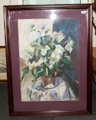 Attractive Abstract Gouache of a Vase of Flowers, Signed D. Rusk. Frame and Glazed. Size 30 x 40