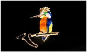 Very Fine 18ct Gold Set Diamond & Enamel Brooch in the form of a woodpecker, the eyes, beak and ears