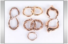 A Collection of 9ct Gold Hoop Earrings ( 4 ) Pairs In Total. Fully Hallmarked. 6.5 grams.