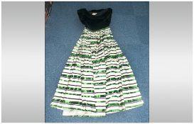 Green Black & White Taffeta & Black Velvet Dress