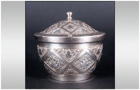 Oriental - Attractive Early 20th Century Silver Lidded Trinket Jar. The Cover and Body with Embossed