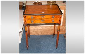 Regency Sewing Table The Top With Ebony Geometric Inlay & Edge. Above Two Drawers Raised On Turned &