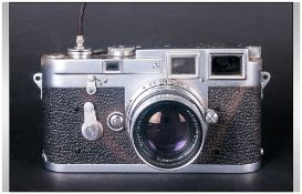 Leica M3-753382 Camera, Date 1955. Complete with Original Leather Holder and Shoulder Strap. The