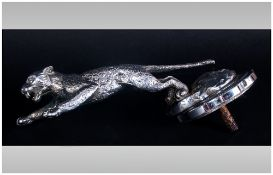 Jaguar Desmo Silver Plated Car Mascot and Chrome Radiator Mount. c.1930's / 1940's. ' Leaping