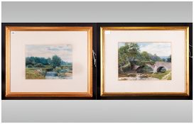 Pair Of Percy Mason (1870-1931) Watercolour Landscapes Of Rivers & Countryside's. Signed Lower