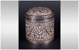 Antique Indian Silver Finely Embossed Lidded Box with in intricate floral design to the body