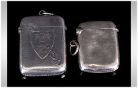 George V Silver Hinged Vesta Cases ( 2 ) In Total. Hallmarks Birmingham 1924 and Chester 1912.