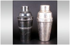 Art Deco Silvered Metal Cocktail Shakers Of Cylindrical Tapering Body Form, one impressed Bonzer.40,
