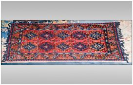 Very Fine Hand Made Bedouin Cashmere Fine Silk Rug/Throw. Measures 62 by 35 inches predominantly
