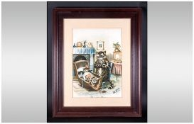 Antique Louis Wain Coloured Print of Cats. Entitled 'Who Said Mice'  Framed and Glazed.