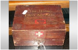Military Interest The Home First Aid Case, Red Cross Complete With Wooden Hinged Box, WW2 Military