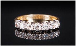 Ladies - Channel Set 18ct Gold - 7 Stone Diamond Ring. Fully Hallmarked. Est Diamond Weight 1ct.