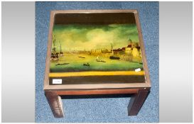 Small Mahogany Coffee Table Brass Mounted Glass Top Showing An Image Showing A View Of The Thames.