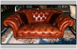Tetrad Top Quality Chesterfield Two Seater Sofa In Tan Leather with Matching Cushions In Leather,